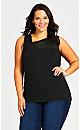 Plus Size Mesh Knotch Tunic - black
