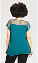 Plus Size Lace Insert Top - teal