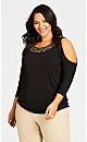 Plus Size Cold Shoulder Bling Tunic - black