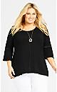 Plus Size Crochet Trim Monochrome Top - black