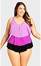 Plus Size Triple Tier Tankini - purple