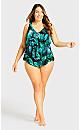 Plus Size Triple Tier Tankini - green
