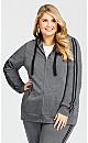 Plus Size Plain Zip Up Hoodie - charcoal