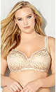Plus Size Lace Balconette Bra - beige