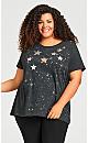 Star Applique Top - charcoal
