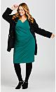 Plus Size Donna Plain Dress - teal