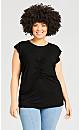 Plus Size Gather Up Plain Top - black