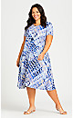 Plus Size Cross Back Knit Print Dress - blue