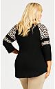 Plus Size Leopard Sleeve Tee - black