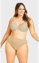 Plus Size Seamless Hi-Cut Brief - beige