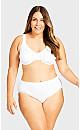 Plus Size Seamless Hi-Cut Brief - white