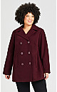Plus Size Faux Wool Peacoat - rosewood