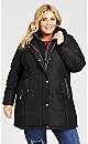 Plus Size Vestie Puffer Coat - black snow