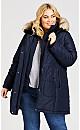 Plus Size Vestie Puffer Coat - navy