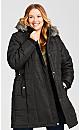 Plus Size Side Belt Puffer Jacket - black