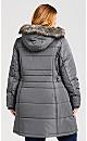 Plus Size Side Belt Puffer Jacket - charcoal