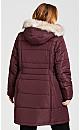 Plus Size Side Belt Puffer Jacket - rosewood