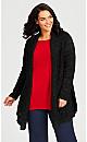 Plus Size Shimmer Pleat Cardigan - black