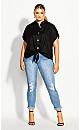 Plus Size Shirt Button Explorer - black