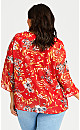 Floral Keyhole Top - red