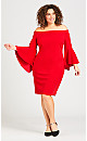 Plus Size Fiona Bell Sleeve Dress - red