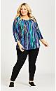 Plus Size Paint Stripe Tunic - blue
