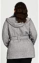 Plus Size Tie Belt Fleece Coat - honeycomb