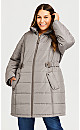 Plus Size Side Belt Puffer - taupe