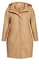 Plus Size Faux Wool Plain Coat - camel
