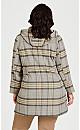 Plus Size Faux Wool Plaid Coat - gray plaid