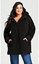 Plus Size Detachable Fur Hood Coat - black