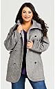 Plus Size Double Breasted Fleece Coat - grey