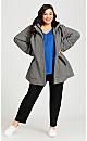 Plus Size Faux Wool Sherpa Trim Coat - black chevron