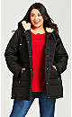 Plus Size Pillow Collar Hooded Puffer Jacket - black