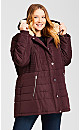Plus Size Pillow Collar Hooded Puffer Jacket - rosewood