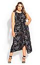 Plus Size Linear Print Dress - black
