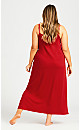 Plus Size Sleep Lace Trim Maxi Dress - red