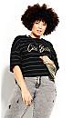 Plus Size Boyfriend Stripe Tee - khaki