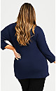 Plus Size V Neck Essential 3/4 Sleeve Tee - navy