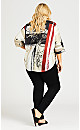 Plus Size Abstract Dolman Sleeve Top - beige print