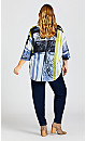 Plus Size Abstract Dolman Sleeve Top - navy