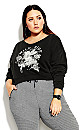 Plus Size Wild Ride Sweat Top - charcoal