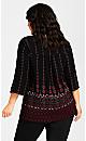 Plus Size Pleat Zip Border Print Blouse - berry