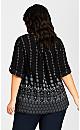 Plus Size Pleat Zip Border Print Blouse - black