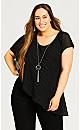 Alicia Glam Necklace Top - black
