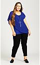 Plus Size Alicia Glam Necklace Top - cobalt