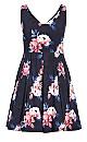 True Love Floral Dress - navy