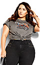 Plus Size Back It Up Tee - grey