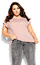 Plus Size With Love Tee - ballet pink