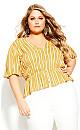 Plus Size Sun Stripe Shirt - mustard